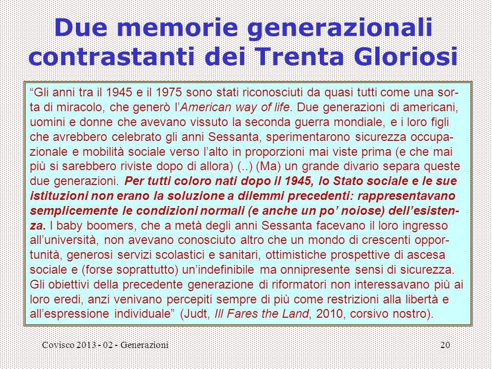 """Covisco 2013 - 02 - Generazioni20 Due memorie generazionali contrastanti dei Trenta Gloriosi """"Gli anni tra il 1945 e il 1975 sono stati riconosciuti d"""