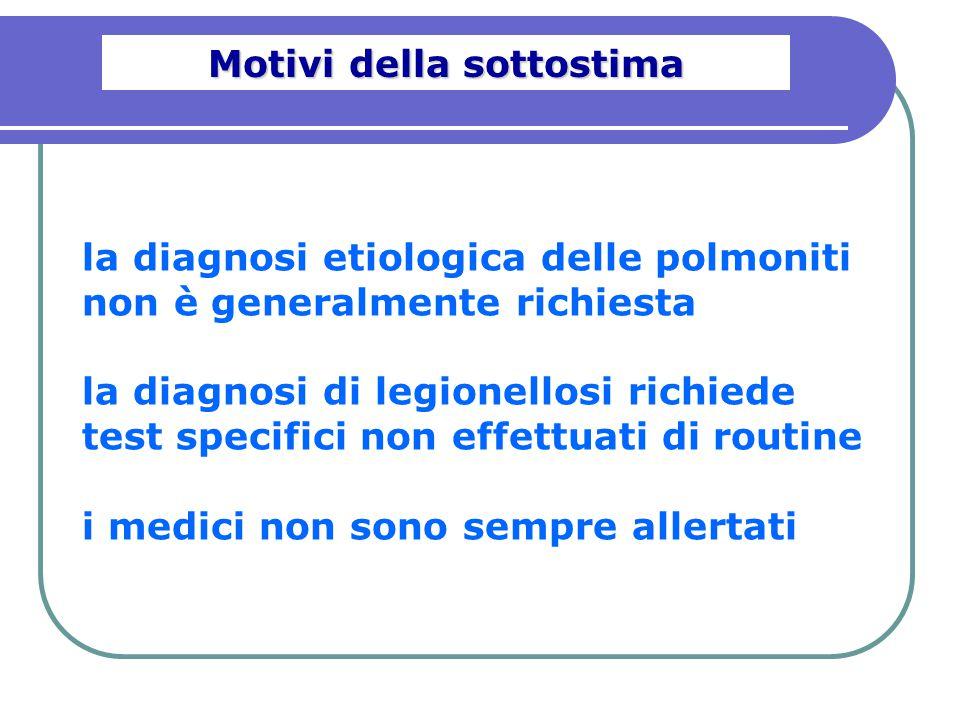 la diagnosi etiologica delle polmoniti non è generalmente richiesta la diagnosi di legionellosi richiede test specifici non effettuati di routine i me