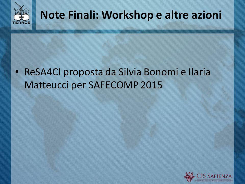 Note Finali: Workshop e altre azioni ReSA4CI proposta da Silvia Bonomi e Ilaria Matteucci per SAFECOMP 2015