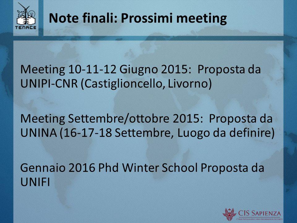 Note finali: Prossimi meeting Meeting 10-11-12 Giugno 2015: Proposta da UNIPI-CNR (Castiglioncello, Livorno) Meeting Settembre/ottobre 2015: Proposta da UNINA (16-17-18 Settembre, Luogo da definire) Gennaio 2016 Phd Winter School Proposta da UNIFI