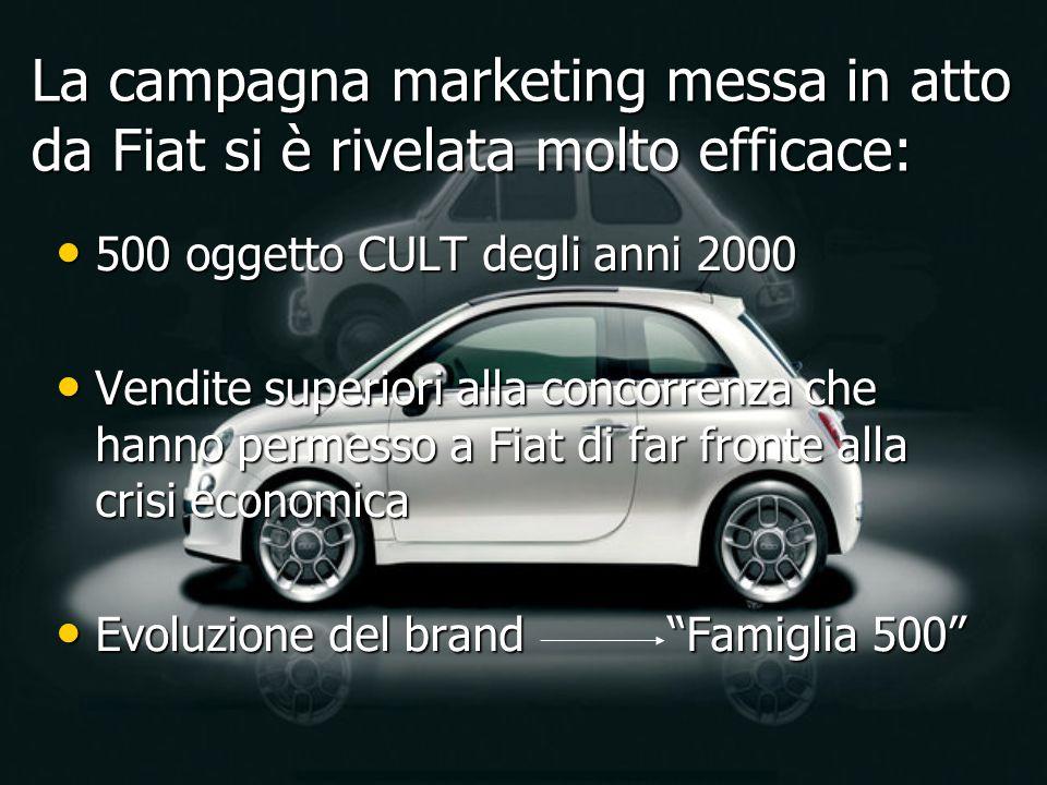 500 oggetto CULT degli anni 2000 500 oggetto CULT degli anni 2000 Vendite superiori alla concorrenza che hanno permesso a Fiat di far fronte alla cris