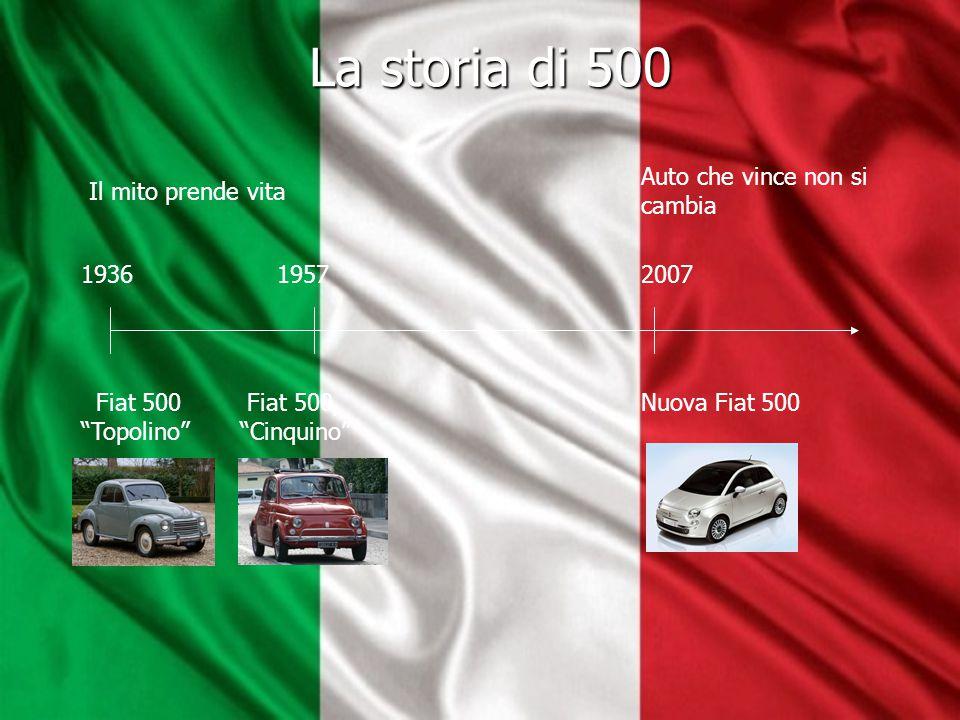 """La storia di 500 La storia di 500 Fiat 500 """"Topolino"""" 1936 1957 Fiat 500, """"Cinquino"""" 2007 Nuova Fiat 500 Auto che vince non si cambia Il mito prende v"""