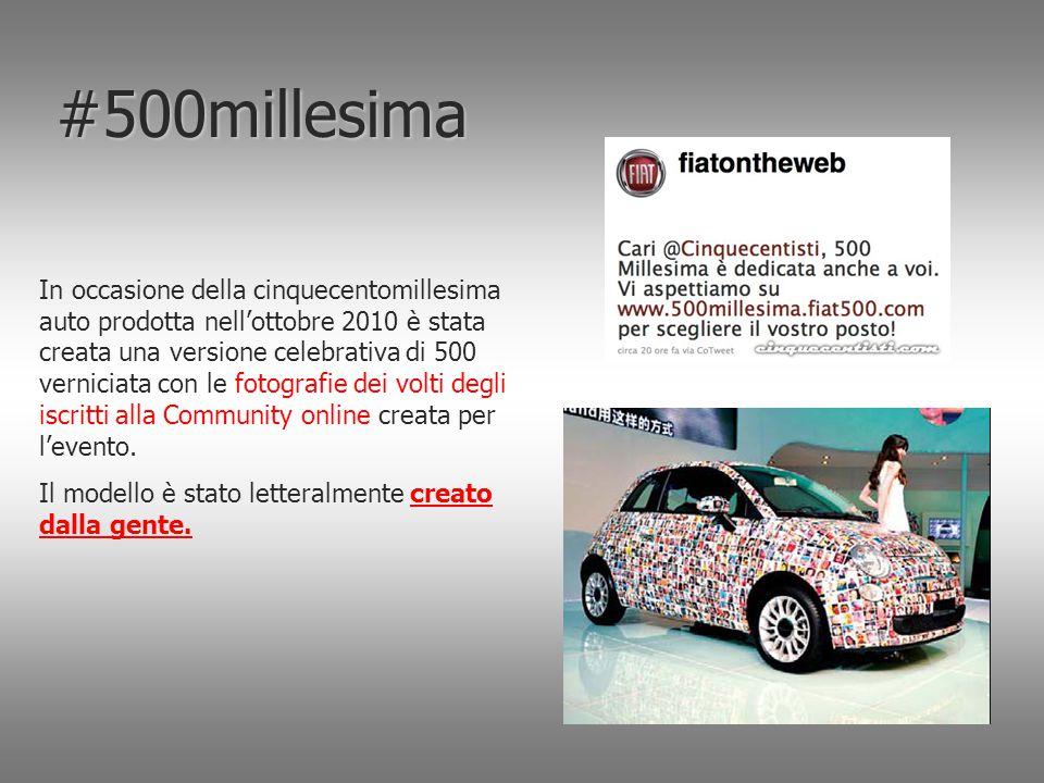 #500millesima In occasione della cinquecentomillesima auto prodotta nell'ottobre 2010 è stata creata una versione celebrativa di 500 verniciata con le