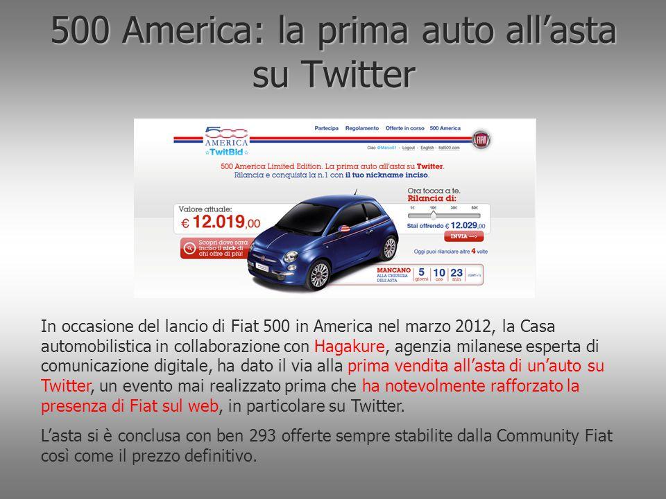 500 America: la prima auto all'asta su Twitter In occasione del lancio di Fiat 500 in America nel marzo 2012, la Casa automobilistica in collaborazion