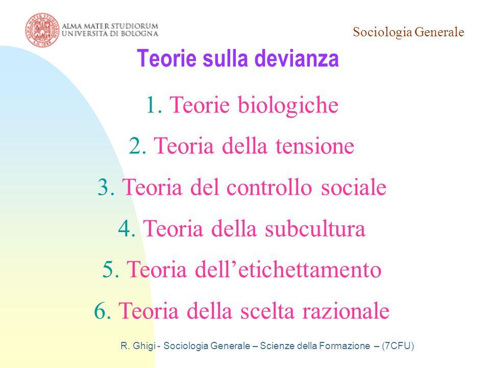 Sociologia Generale R. Ghigi - Sociologia Generale – Scienze della Formazione – (7CFU) Teorie sulla devianza 1.Teorie biologiche 2.Teoria della tensio