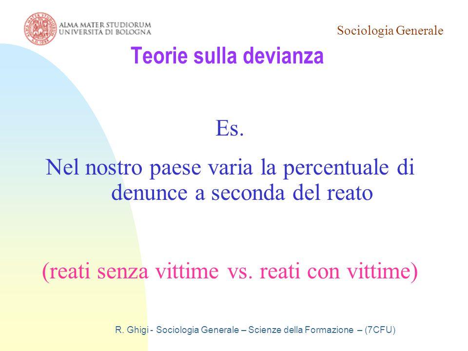 Sociologia Generale R. Ghigi - Sociologia Generale – Scienze della Formazione – (7CFU) Teorie sulla devianza Es. Nel nostro paese varia la percentuale