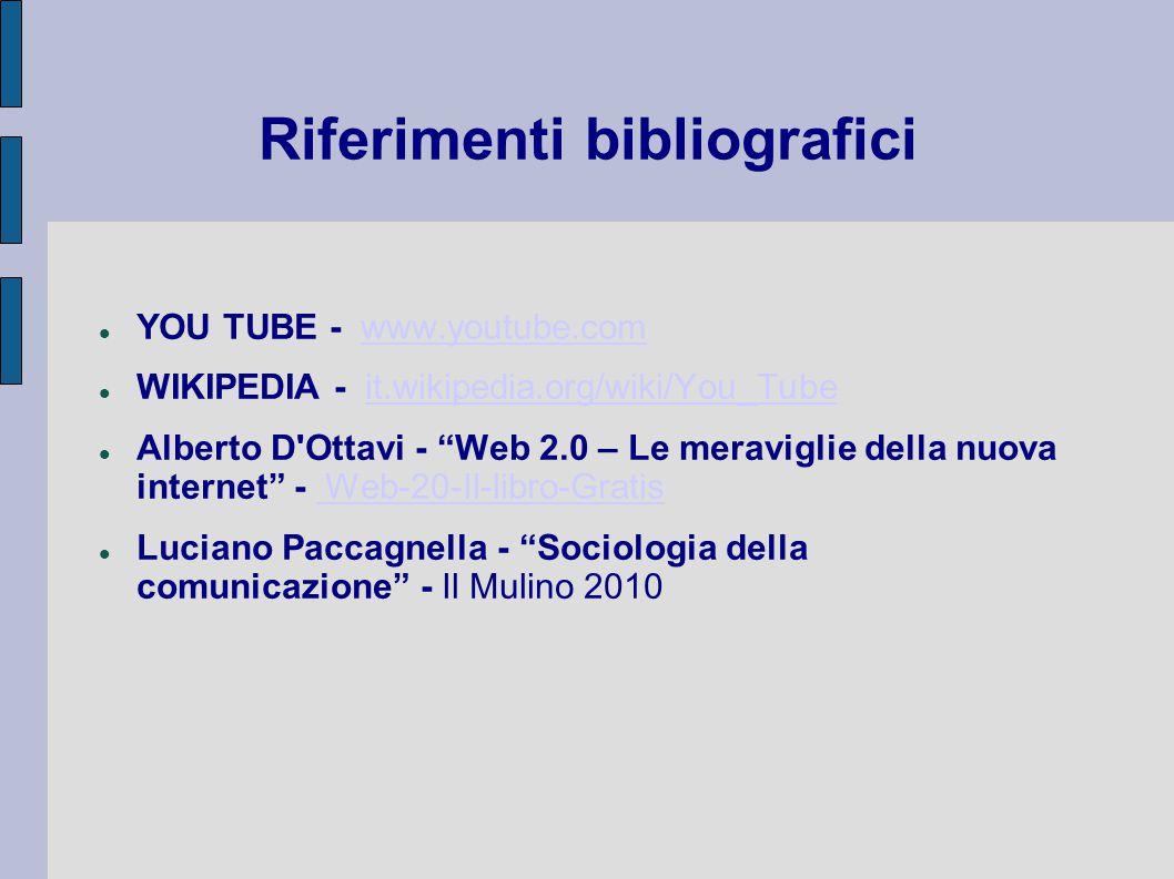 Riferimenti bibliografici YOU TUBE - www.youtube.comwww.youtube.com WIKIPEDIA - it.wikipedia.org/wiki/You_Tubeit.wikipedia.org/wiki/You_Tube Alberto D Ottavi - Web 2.0 – Le meraviglie della nuova internet - Web-20-Il-libro-Gratis Web-20-Il-libro-Gratis Luciano Paccagnella - Sociologia della comunicazione - Il Mulino 2010