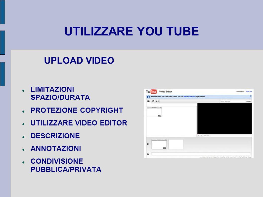 UTILIZZARE YOU TUBE UPLOAD VIDEO LIMITAZIONI SPAZIO/DURATA PROTEZIONE COPYRIGHT UTILIZZARE VIDEO EDITOR DESCRIZIONE ANNOTAZIONI CONDIVISIONE PUBBLICA/PRIVATA