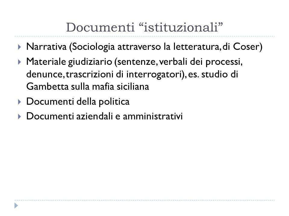 """Documenti """"istituzionali""""  Narrativa (Sociologia attraverso la letteratura, di Coser)  Materiale giudiziario (sentenze, verbali dei processi, denunc"""