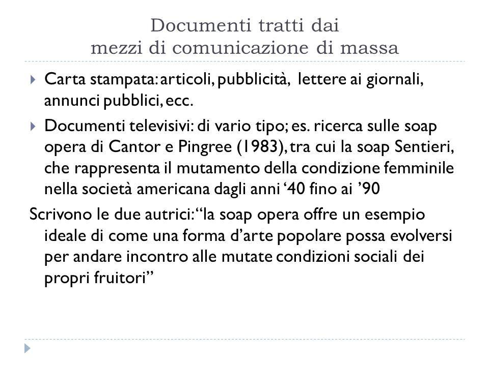 Documenti tratti dai mezzi di comunicazione di massa  Carta stampata: articoli, pubblicità, lettere ai giornali, annunci pubblici, ecc.  Documenti t