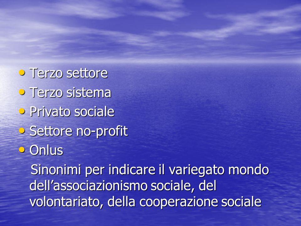 Terzo settore Terzo settore Terzo sistema Terzo sistema Privato sociale Privato sociale Settore no-profit Settore no-profit Onlus Onlus Sinonimi per i