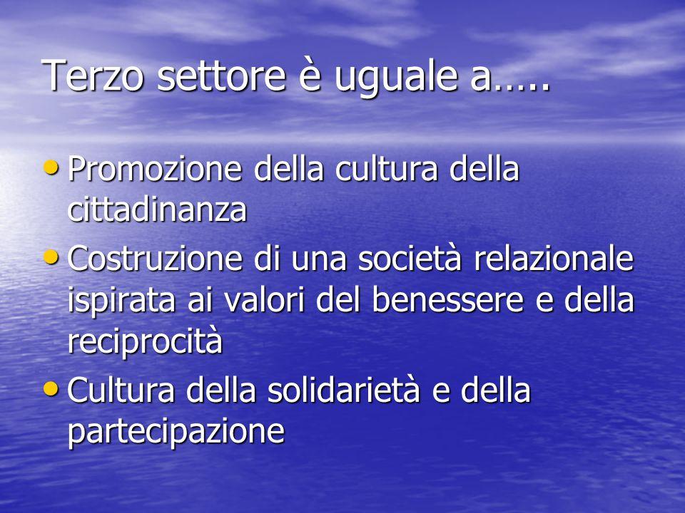 Terzo settore è uguale a….. Promozione della cultura della cittadinanza Promozione della cultura della cittadinanza Costruzione di una società relazio