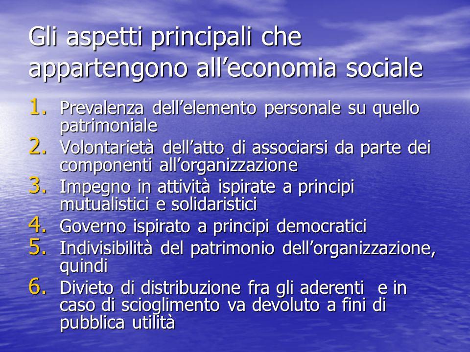 Gli aspetti principali che appartengono all'economia sociale 1. Prevalenza dell'elemento personale su quello patrimoniale 2. Volontarietà dell'atto di