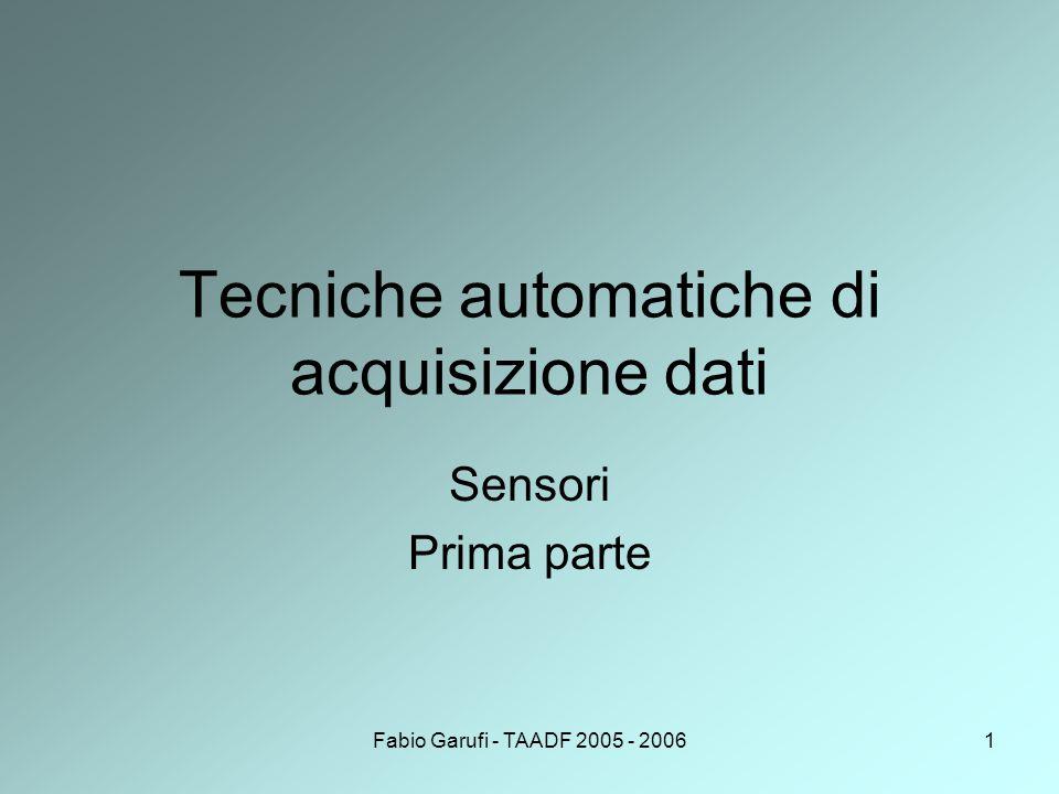 Fabio Garufi - TAADF 2005 - 20061 Tecniche automatiche di acquisizione dati Sensori Prima parte