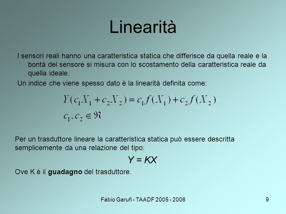Fabio Garufi - TAADF 2005 - 20069 Linearità I sensori reali hanno una caratteristica statica che differisce da quella reale e la bontà del sensore si misura con lo scostamento della caratteristica reale da quella ideale.