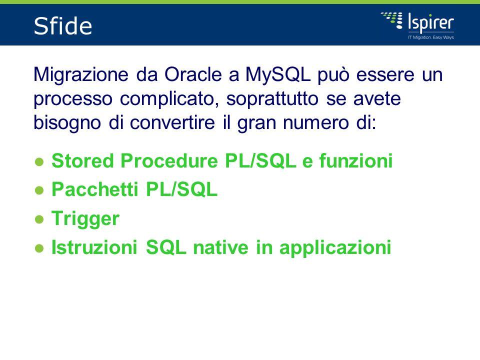 Sfide Migrazione da Oracle a MySQL può essere un processo complicato, soprattutto se avete bisogno di convertire il gran numero di: ●Stored Procedure PL/SQL e funzioni ●Pacchetti PL/SQL ●Trigger ●Istruzioni SQL native in applicazioni