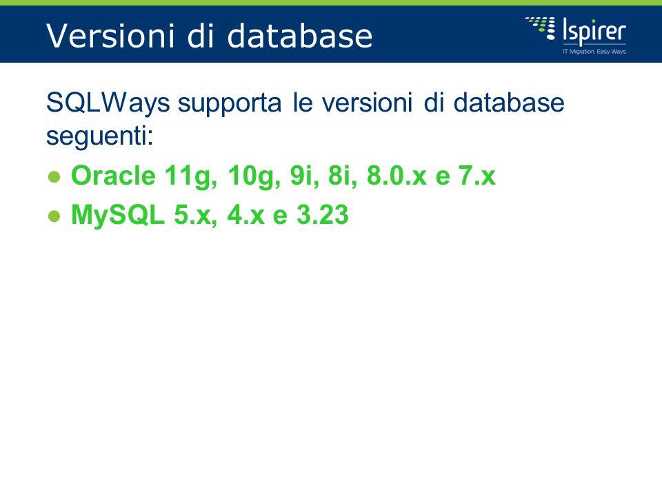 Versioni di database SQLWays supporta le versioni di database seguenti: ●Oracle 11g, 10g, 9i, 8i, 8.0.x e 7.x ●MySQL 5.x, 4.x e 3.23