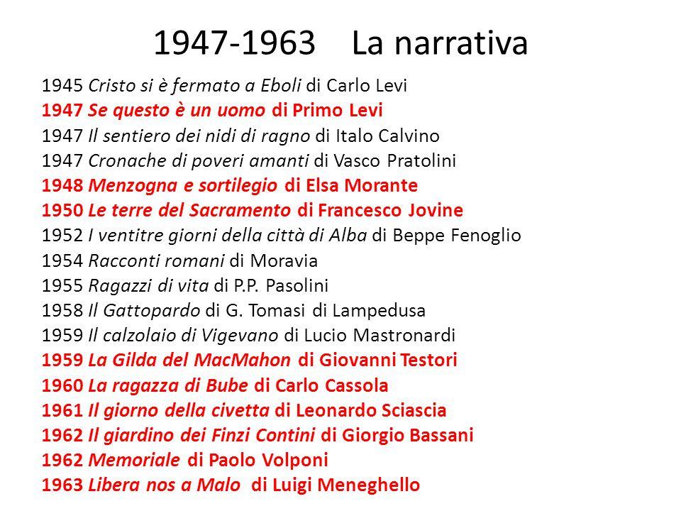 1947-1963 La narrativa 1945 Cristo si è fermato a Eboli di Carlo Levi 1947 Se questo è un uomo di Primo Levi 1947 Il sentiero dei nidi di ragno di Ita