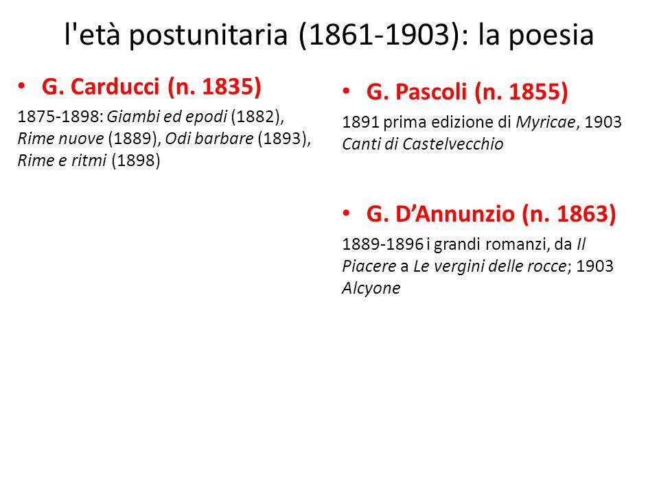 l'età postunitaria (1861-1903): la poesia G. Carducci (n. 1835) 1875-1898: Giambi ed epodi (1882), Rime nuove (1889), Odi barbare (1893), Rime e ritmi