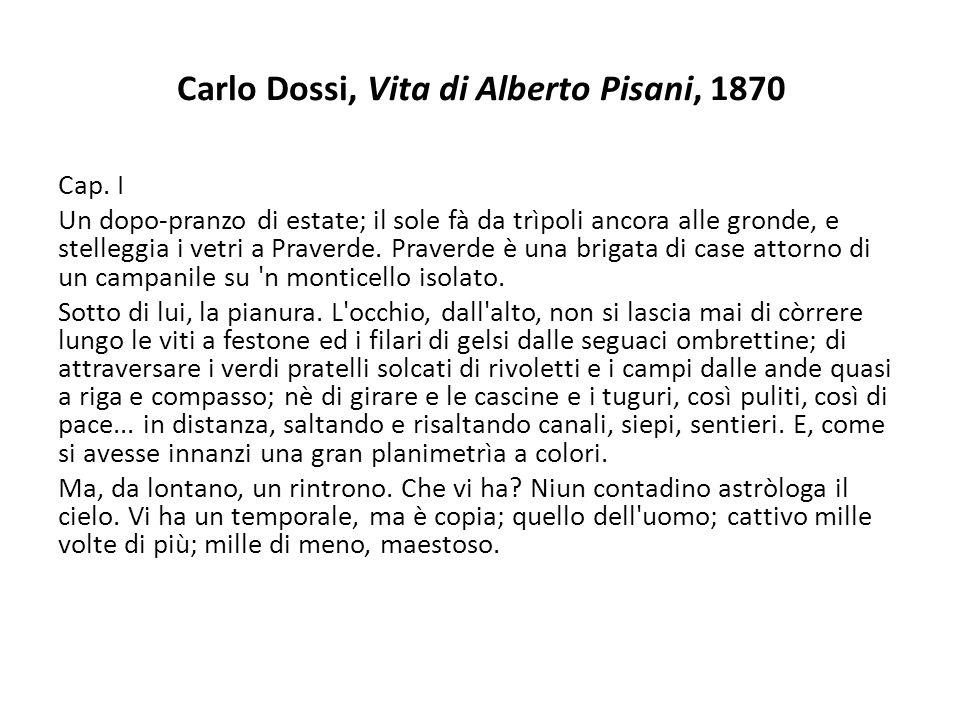Carlo Dossi, Vita di Alberto Pisani, 1870 Cap. I Un dopo-pranzo di estate; il sole fà da trìpoli ancora alle gronde, e stelleggia i vetri a Praverde.