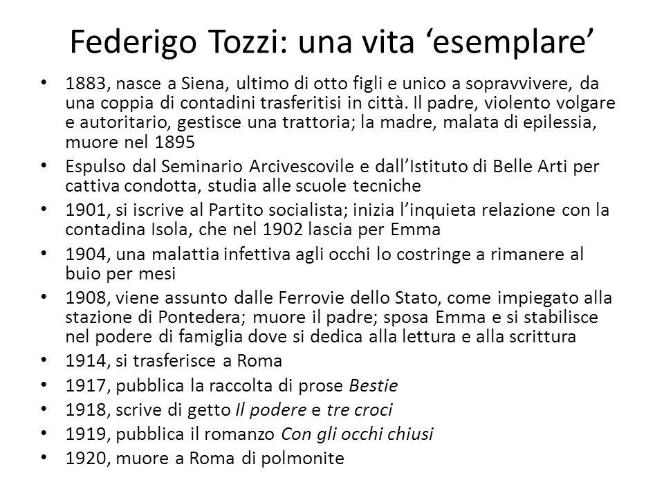 Federigo Tozzi: una vita 'esemplare' 1883, nasce a Siena, ultimo di otto figli e unico a sopravvivere, da una coppia di contadini trasferitisi in citt