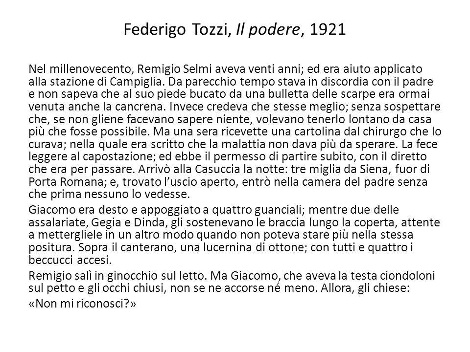 Federigo Tozzi, Il podere, 1921 Nel millenovecento, Remigio Selmi aveva venti anni; ed era aiuto applicato alla stazione di Campiglia. Da parecchio te