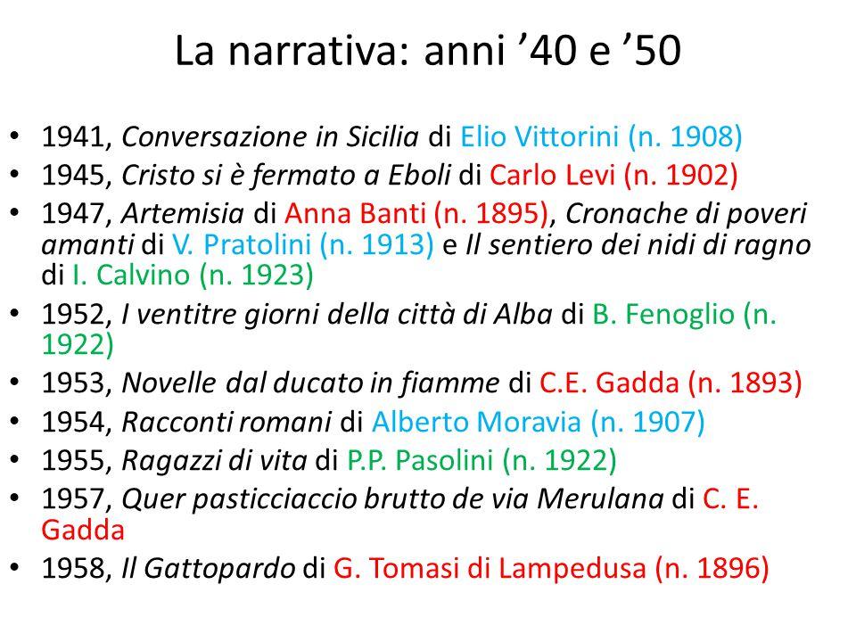 La narrativa: anni '40 e '50 1941, Conversazione in Sicilia di Elio Vittorini (n. 1908) 1945, Cristo si è fermato a Eboli di Carlo Levi (n. 1902) 1947