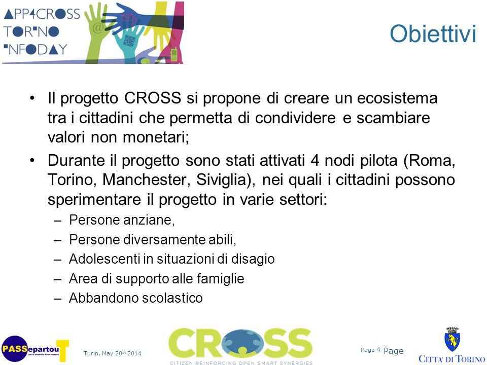 Page Turin, May 20 th 2014 Page 4 Obiettivi Il progetto CROSS si propone di creare un ecosistema tra i cittadini che permetta di condividere e scambia