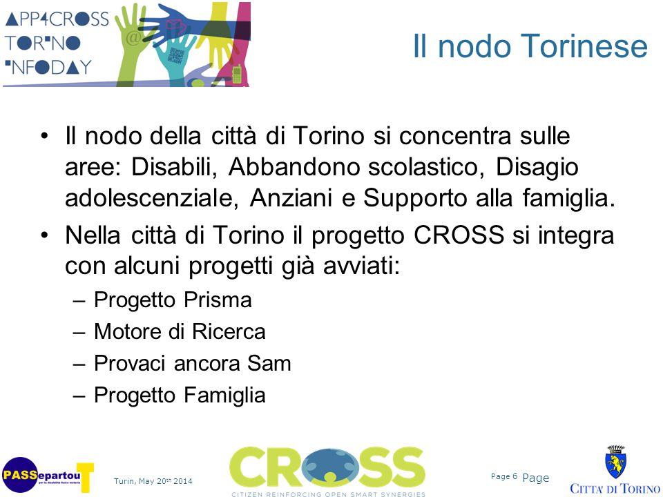 Page Turin, May 20 th 2014 Page 6 Il nodo Torinese Il nodo della città di Torino si concentra sulle aree: Disabili, Abbandono scolastico, Disagio adol