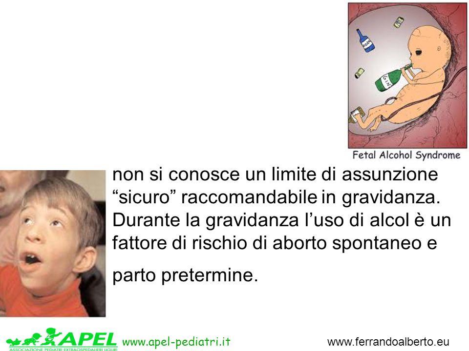 www.apel-pediatri.it www.ferrandoalberto.eu non si conosce un limite di assunzione sicuro raccomandabile in gravidanza.