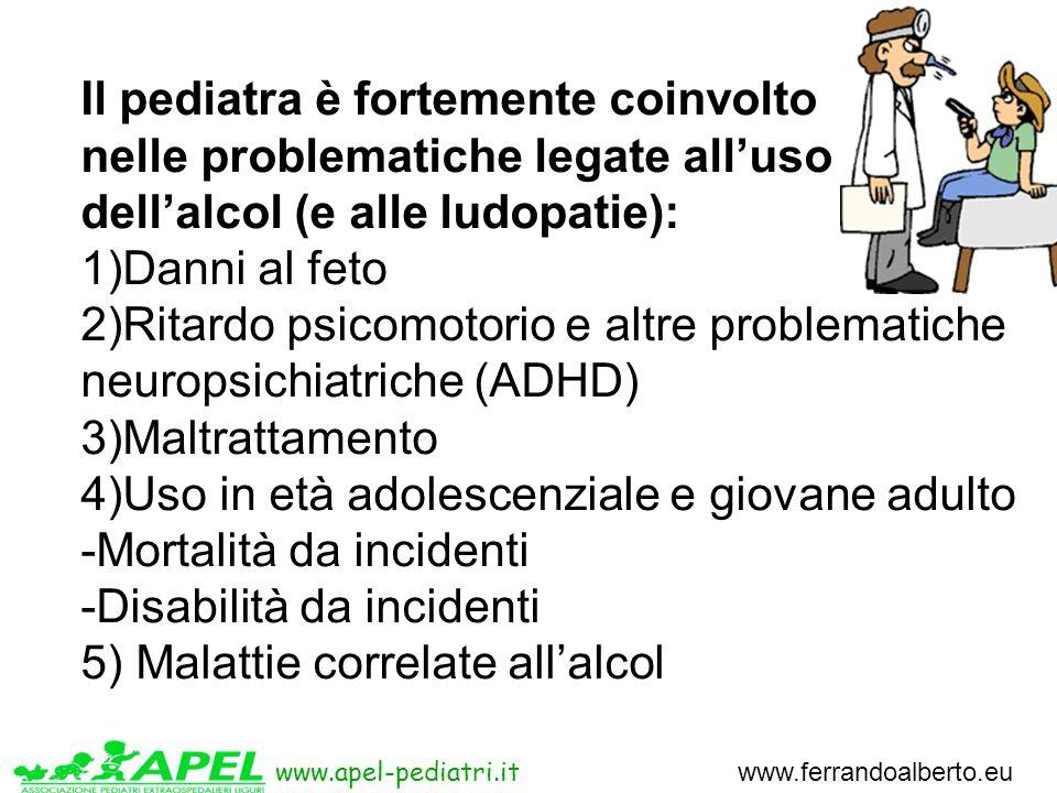 www.apel-pediatri.it www.ferrandoalberto.eu Il pediatra è fortemente coinvolto nelle problematiche legate all'uso dell'alcol (e alle ludopatie): 1)Danni al feto 2)Ritardo psicomotorio e altre problematiche neuropsichiatriche (ADHD) 3)Maltrattamento 4)Uso in età adolescenziale e giovane adulto -Mortalità da incidenti -Disabilità da incidenti 5) Malattie correlate all'alcol