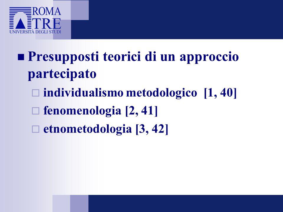 Presupposti teorici di un approccio partecipato  individualismo metodologico [1, 40]  fenomenologia [2, 41]  etnometodologia [3, 42]