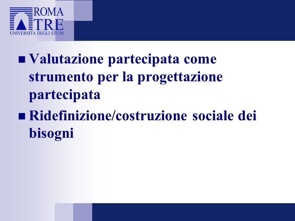 Valutazione partecipata come strumento per la progettazione partecipata Ridefinizione/costruzione sociale dei bisogni