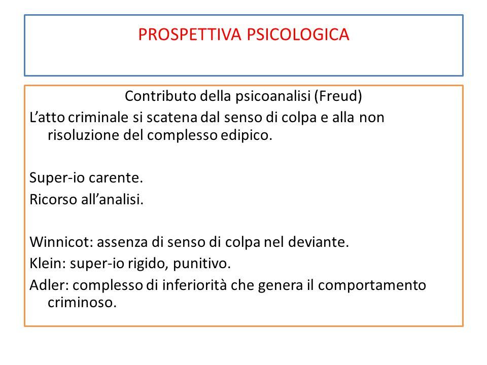 PROSPETTIVA PSICOLOGICA Contributo della psicoanalisi (Freud) L'atto criminale si scatena dal senso di colpa e alla non risoluzione del complesso edipico.