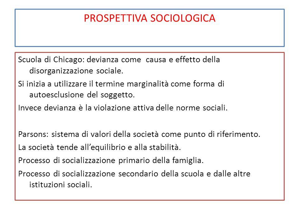 PROSPETTIVA SOCIOLOGICA Scuola di Chicago: devianza come causa e effetto della disorganizzazione sociale. Si inizia a utilizzare il termine marginalit