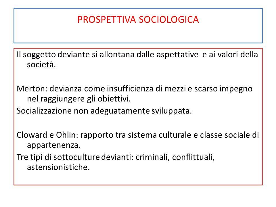 PROSPETTIVA SOCIOLOGICA Il soggetto deviante si allontana dalle aspettative e ai valori della società. Merton: devianza come insufficienza di mezzi e
