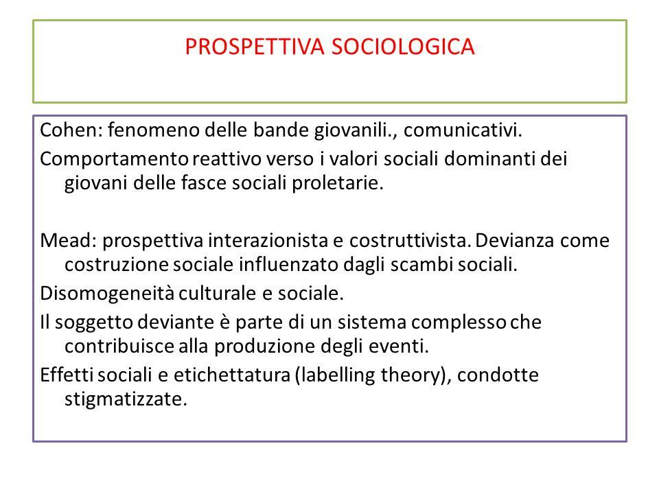 PROSPETTIVA SOCIOLOGICA Cohen: fenomeno delle bande giovanili., comunicativi. Comportamento reattivo verso i valori sociali dominanti dei giovani dell