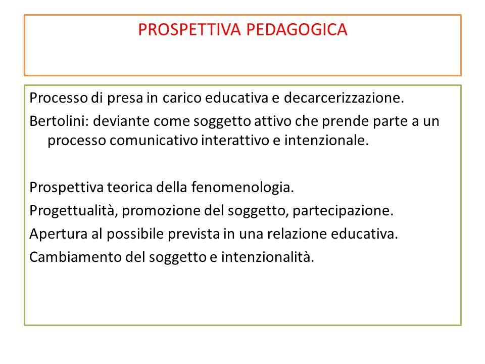 PROSPETTIVA PEDAGOGICA Processo di presa in carico educativa e decarcerizzazione.