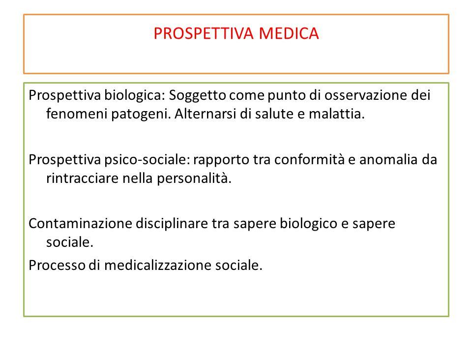 PROSPETTIVA MEDICA Prospettiva biologica: Soggetto come punto di osservazione dei fenomeni patogeni. Alternarsi di salute e malattia. Prospettiva psic