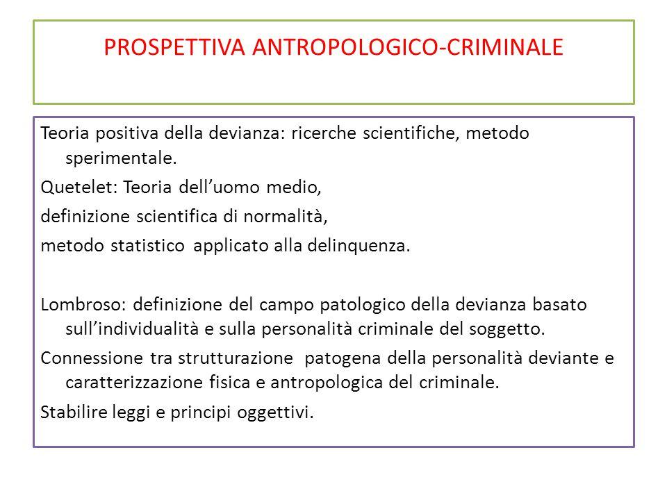 PROSPETTIVA ANTROPOLOGICO-CRIMINALE Teoria positiva della devianza: ricerche scientifiche, metodo sperimentale. Quetelet: Teoria dell'uomo medio, defi