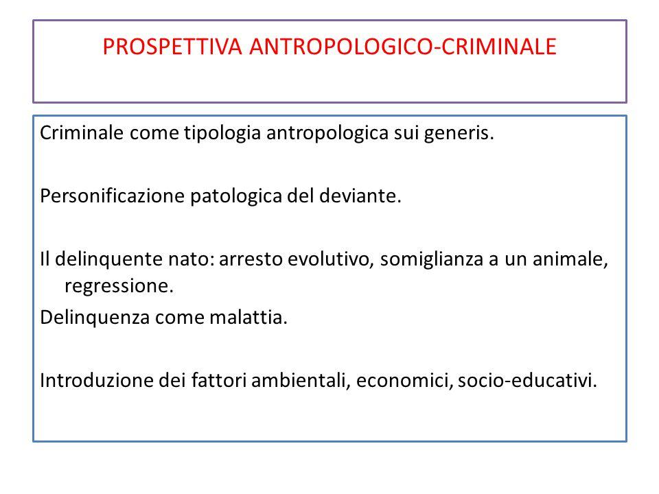 PROSPETTIVA ANTROPOLOGICO-CRIMINALE Criminale come tipologia antropologica sui generis. Personificazione patologica del deviante. Il delinquente nato: