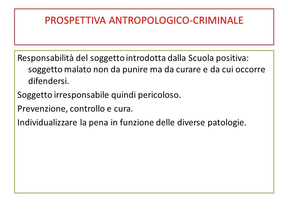 PROSPETTIVA ANTROPOLOGICO-CRIMINALE Responsabilità del soggetto introdotta dalla Scuola positiva: soggetto malato non da punire ma da curare e da cui