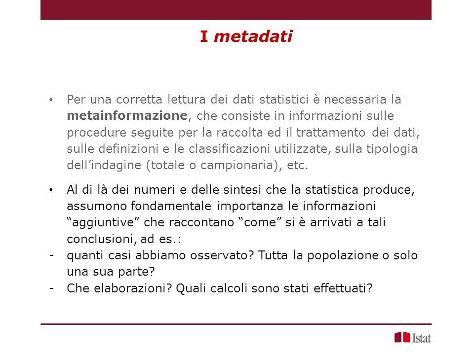 I metadati Per una corretta lettura dei dati statistici è necessaria la metainformazione, che consiste in informazioni sulle procedure seguite per la raccolta ed il trattamento dei dati, sulle definizioni e le classificazioni utilizzate, sulla tipologia dell'indagine (totale o campionaria), etc.