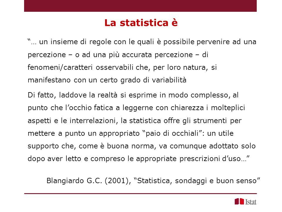 La statistica è … un insieme di regole con le quali è possibile pervenire ad una percezione – o ad una più accurata percezione – di fenomeni/caratteri osservabili che, per loro natura, si manifestano con un certo grado di variabilità Di fatto, laddove la realtà si esprime in modo complesso, al punto che l'occhio fatica a leggerne con chiarezza i molteplici aspetti e le interrelazioni, la statistica offre gli strumenti per mettere a punto un appropriato paio di occhiali : un utile supporto che, come è buona norma, va comunque adottato solo dopo aver letto e compreso le appropriate prescrizioni d'uso… Blangiardo G.C.
