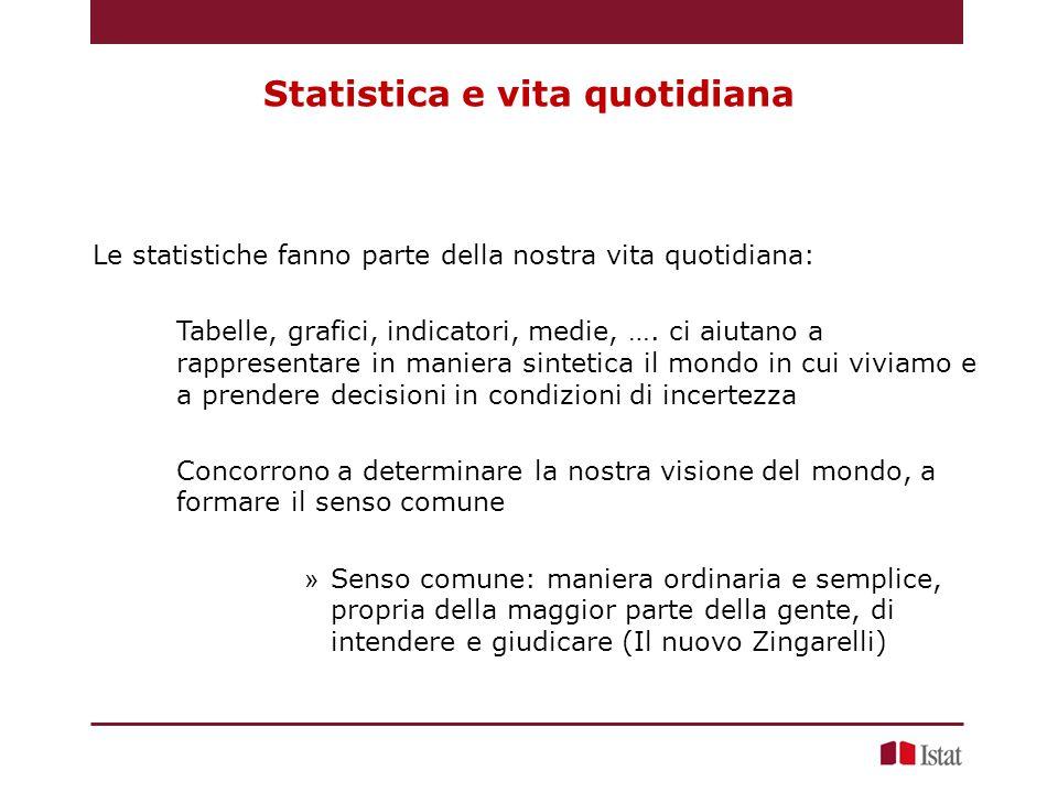 Statistica e vita quotidiana Le statistiche fanno parte della nostra vita quotidiana: Tabelle, grafici, indicatori, medie, ….