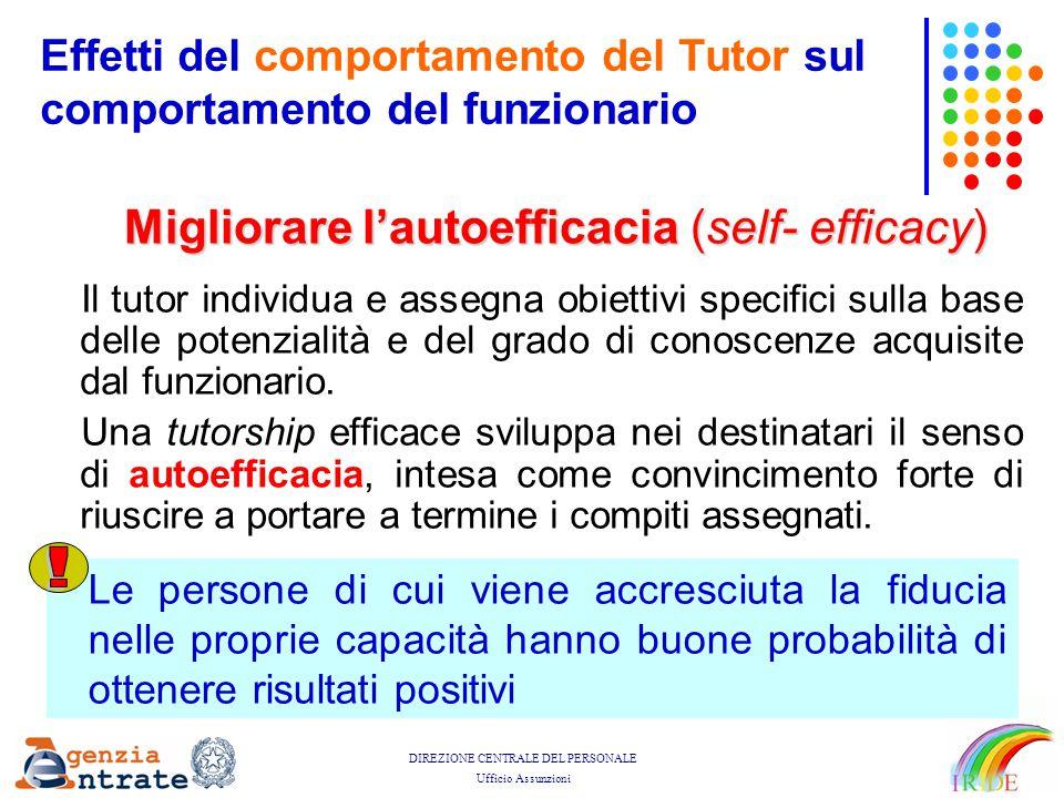 DIREZIONE CENTRALE DEL PERSONALE Ufficio Assunzioni Il tutor individua e assegna obiettivi specifici sulla base delle potenzialità e del grado di cono