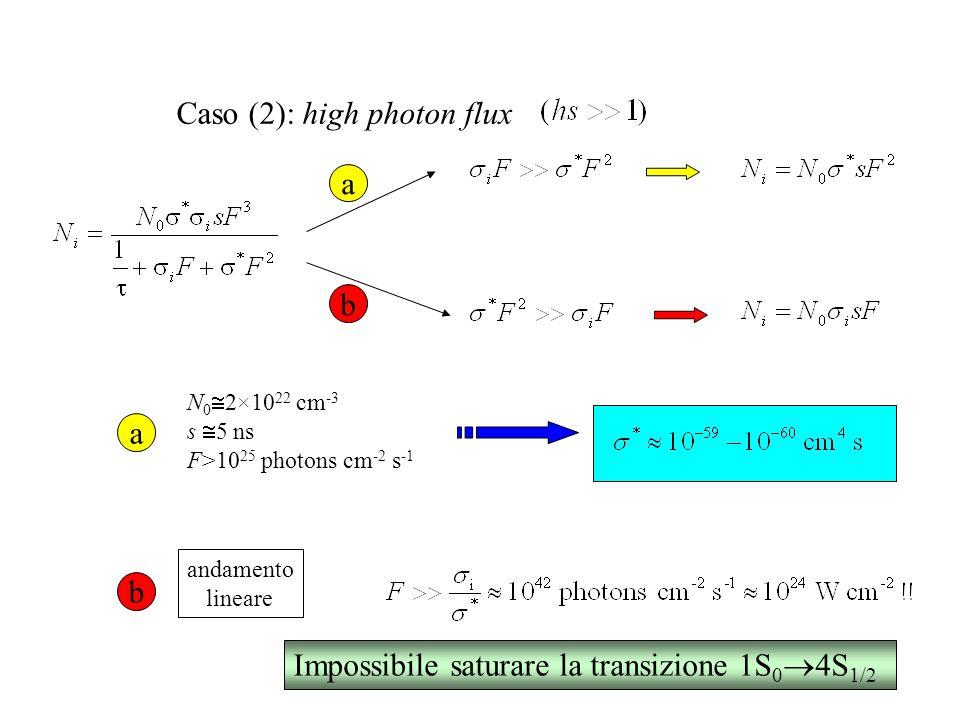 Caso (2): high photon flux N 0  2×10 22 cm -3 s  5 ns F>10 25 photons cm -2 s -1 a b a b andamento lineare Impossibile saturare la transizione 1S 0  4S 1/2