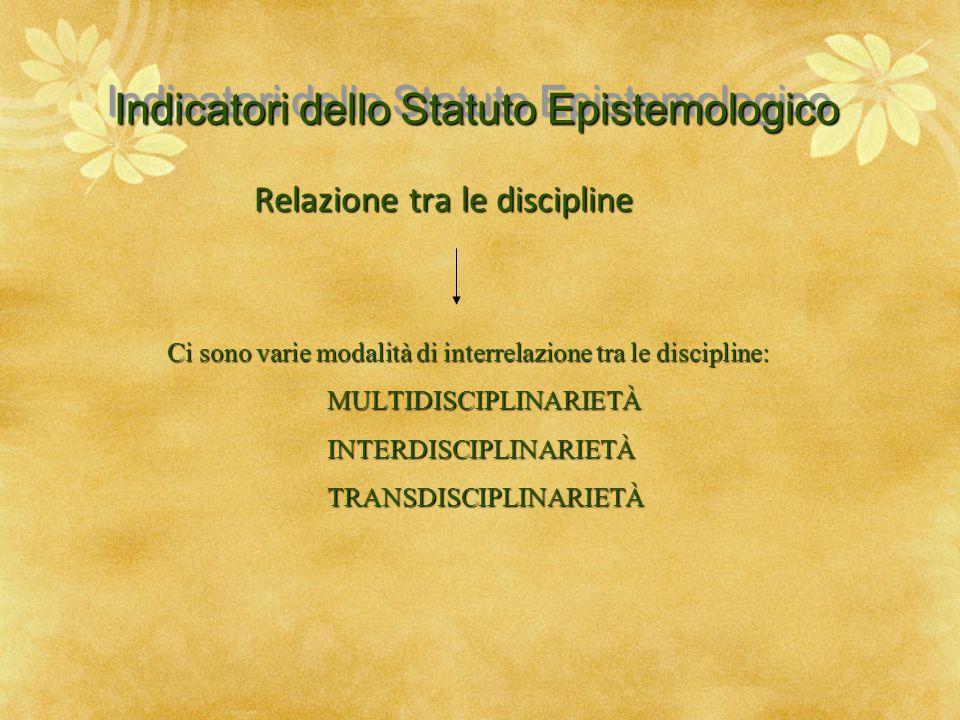 Indicatori dello Statuto Epistemologico Relazione tra le discipline Ci sono varie modalità di interrelazione tra le discipline: MULTIDISCIPLINARIETÀ M