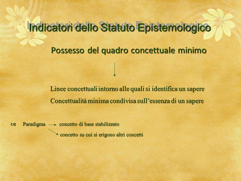 Indicatori dello Statuto Epistemologico Possesso del quadro concettuale minimo Linee concettuali intorno alle quali si identifica un sapere Linee conc