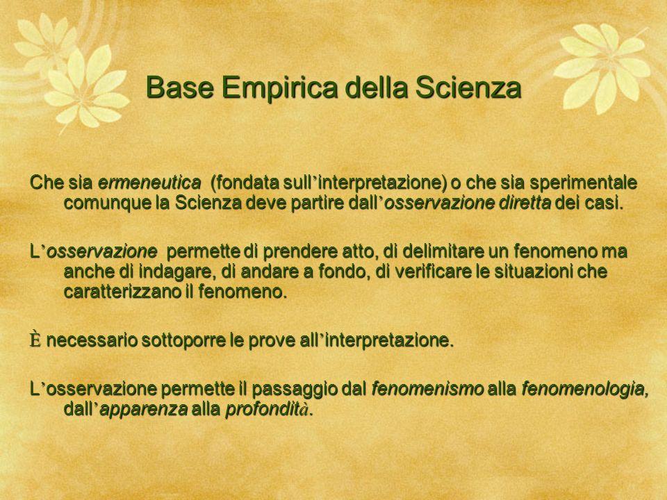 Base Empirica della Scienza Che sia ermeneutica (fondata sull ' interpretazione) o che sia sperimentale comunque la Scienza deve partire dall ' osserv